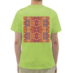 Oriental Watercolor Ornaments Kaleidoscope Mosaic Green T-Shirt Back