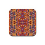 Oriental Watercolor Ornaments Kaleidoscope Mosaic Rubber Coaster (Square)  Front