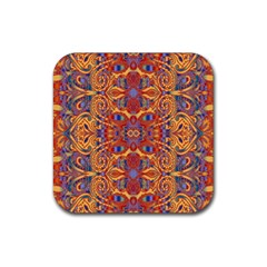 Oriental Watercolor Ornaments Kaleidoscope Mosaic Rubber Square Coaster (4 Pack)