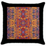 Oriental Watercolor Ornaments Kaleidoscope Mosaic Throw Pillow Case (Black) Front