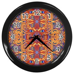 Oriental Watercolor Ornaments Kaleidoscope Mosaic Wall Clocks (black)