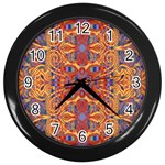 Oriental Watercolor Ornaments Kaleidoscope Mosaic Wall Clocks (Black) Front