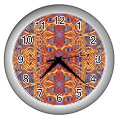 Oriental Watercolor Ornaments Kaleidoscope Mosaic Wall Clocks (Silver)