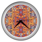 Oriental Watercolor Ornaments Kaleidoscope Mosaic Wall Clocks (Silver)  Front