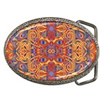 Oriental Watercolor Ornaments Kaleidoscope Mosaic Belt Buckles Front