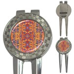 Oriental Watercolor Ornaments Kaleidoscope Mosaic 3-in-1 Golf Divots Front