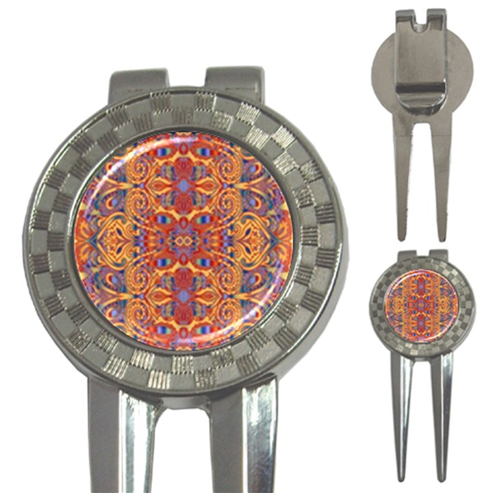 Oriental Watercolor Ornaments Kaleidoscope Mosaic 3-in-1 Golf Divots
