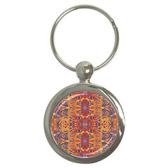 Oriental Watercolor Ornaments Kaleidoscope Mosaic Key Chains (round)
