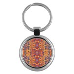 Oriental Watercolor Ornaments Kaleidoscope Mosaic Key Chains (Round)  Front