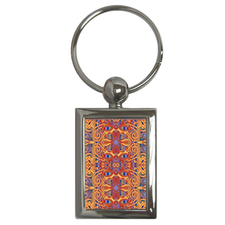 Oriental Watercolor Ornaments Kaleidoscope Mosaic Key Chains (Rectangle)