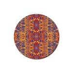 Oriental Watercolor Ornaments Kaleidoscope Mosaic Rubber Coaster (Round)  Front