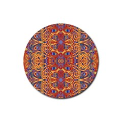 Oriental Watercolor Ornaments Kaleidoscope Mosaic Rubber Round Coaster (4 Pack)