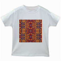 Oriental Watercolor Ornaments Kaleidoscope Mosaic Kids White T Shirts