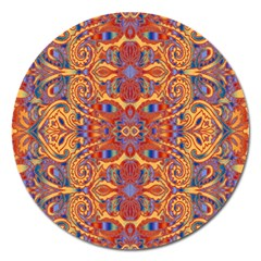 Oriental Watercolor Ornaments Kaleidoscope Mosaic Magnet 5  (Round)