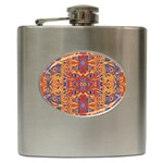 Oriental Watercolor Ornaments Kaleidoscope Mosaic Hip Flask (6 oz) Front