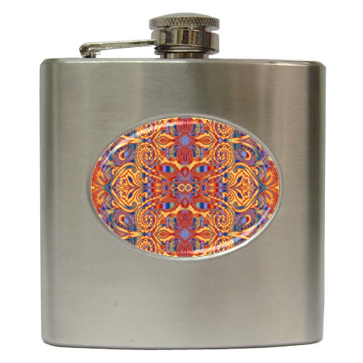 Oriental Watercolor Ornaments Kaleidoscope Mosaic Hip Flask (6 oz)