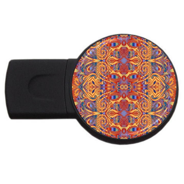 Oriental Watercolor Ornaments Kaleidoscope Mosaic USB Flash Drive Round (1 GB)
