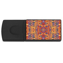 Oriental Watercolor Ornaments Kaleidoscope Mosaic USB Flash Drive Rectangular (2 GB)