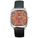 Oriental Watercolor Ornaments Kaleidoscope Mosaic Square Metal Watch Front