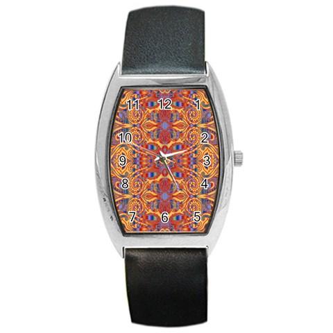 Oriental Watercolor Ornaments Kaleidoscope Mosaic Barrel Style Metal Watch