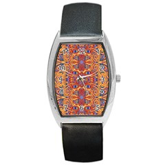 Oriental Watercolor Ornaments Kaleidoscope Mosaic Barrel Style Metal Watch