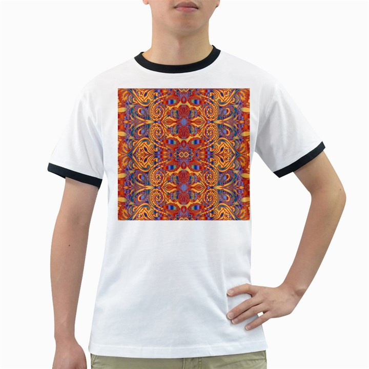 Oriental Watercolor Ornaments Kaleidoscope Mosaic Ringer T-Shirts
