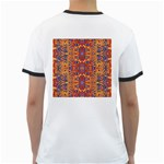 Oriental Watercolor Ornaments Kaleidoscope Mosaic Ringer T-Shirts Back