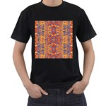 Oriental Watercolor Ornaments Kaleidoscope Mosaic Men s T-Shirt (Black) (Two Sided) Front