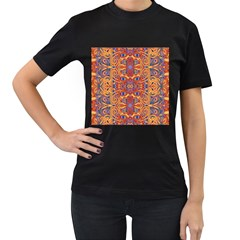 Oriental Watercolor Ornaments Kaleidoscope Mosaic Women s T-Shirt (Black) (Two Sided)