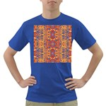 Oriental Watercolor Ornaments Kaleidoscope Mosaic Dark T-Shirt Front