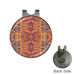 Oriental Watercolor Ornaments Kaleidoscope Mosaic Hat Clips with Golf Markers Front