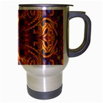 Oriental Watercolor Ornaments Kaleidoscope Mosaic Travel Mug (Silver Gray) Right