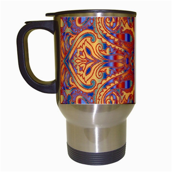 Oriental Watercolor Ornaments Kaleidoscope Mosaic Travel Mugs (White)