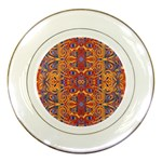 Oriental Watercolor Ornaments Kaleidoscope Mosaic Porcelain Plates Front