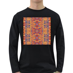 Oriental Watercolor Ornaments Kaleidoscope Mosaic Long Sleeve Dark T-Shirts