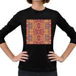 Oriental Watercolor Ornaments Kaleidoscope Mosaic Women s Long Sleeve Dark T-Shirts Front