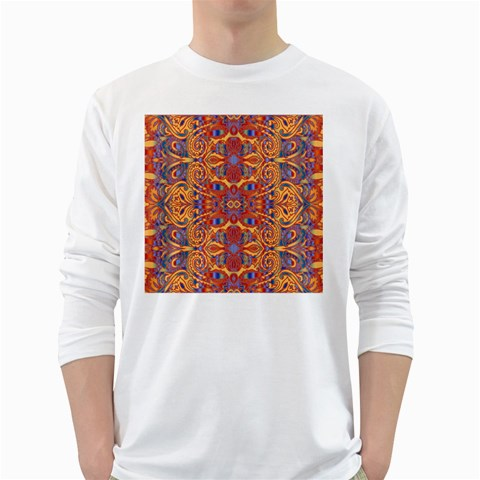 Oriental Watercolor Ornaments Kaleidoscope Mosaic White Long Sleeve T-Shirts