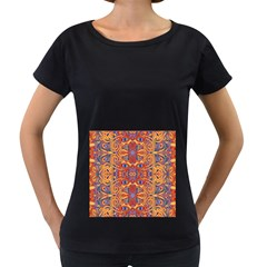 Oriental Watercolor Ornaments Kaleidoscope Mosaic Women s Loose Fit T Shirt (black)