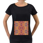Oriental Watercolor Ornaments Kaleidoscope Mosaic Women s Loose-Fit T-Shirt (Black) Front