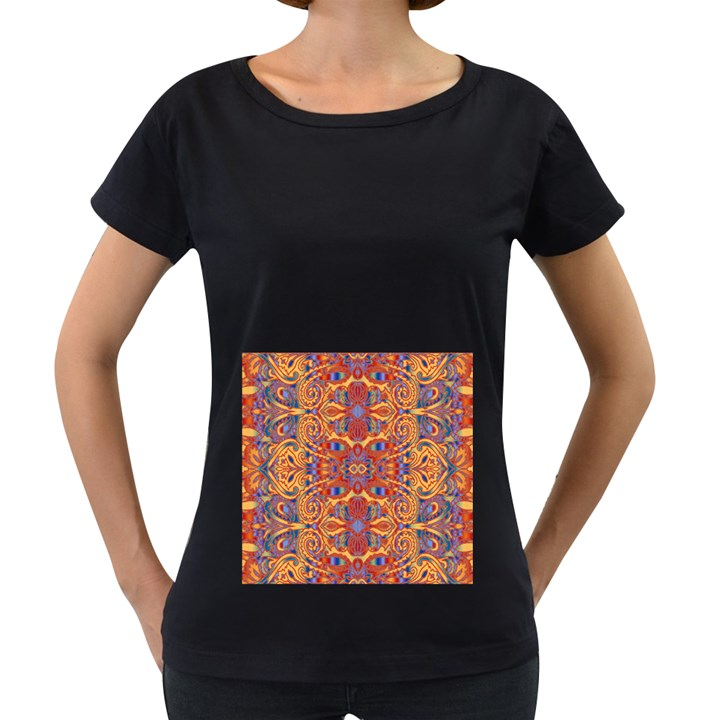 Oriental Watercolor Ornaments Kaleidoscope Mosaic Women s Loose-Fit T-Shirt (Black)