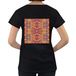Oriental Watercolor Ornaments Kaleidoscope Mosaic Women s Loose-Fit T-Shirt (Black) Back