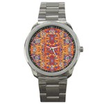 Oriental Watercolor Ornaments Kaleidoscope Mosaic Sport Metal Watch Front