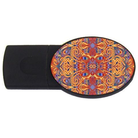 Oriental Watercolor Ornaments Kaleidoscope Mosaic USB Flash Drive Oval (4 GB)