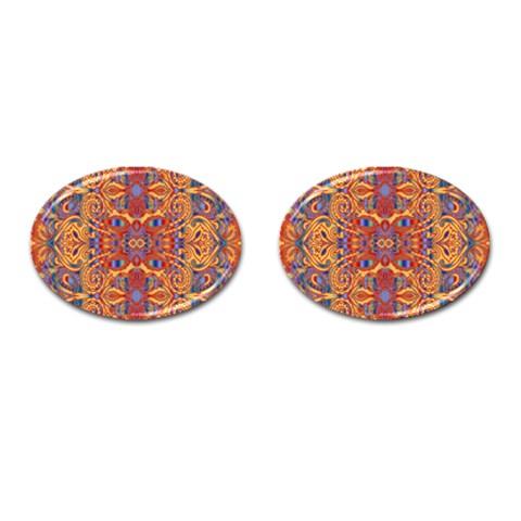 Oriental Watercolor Ornaments Kaleidoscope Mosaic Cufflinks (Oval)