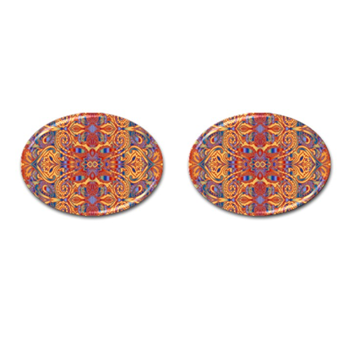 Oriental Watercolor Ornaments Kaleidoscope Mosaic Cufflinks (Oval)