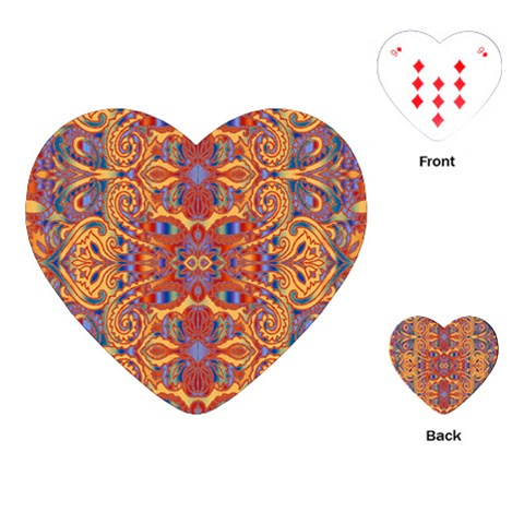 Oriental Watercolor Ornaments Kaleidoscope Mosaic Playing Cards (Heart)