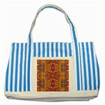 Oriental Watercolor Ornaments Kaleidoscope Mosaic Striped Blue Tote Bag Front