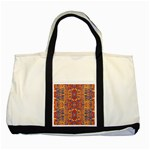 Oriental Watercolor Ornaments Kaleidoscope Mosaic Two Tone Tote Bag Front