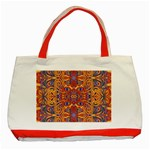 Oriental Watercolor Ornaments Kaleidoscope Mosaic Classic Tote Bag (Red) Front