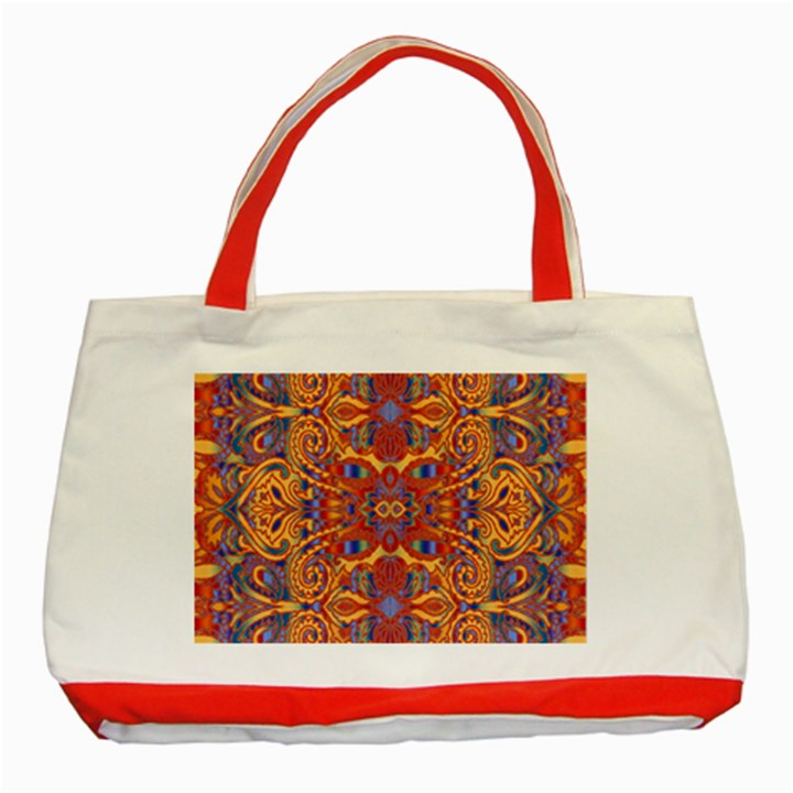 Oriental Watercolor Ornaments Kaleidoscope Mosaic Classic Tote Bag (Red)